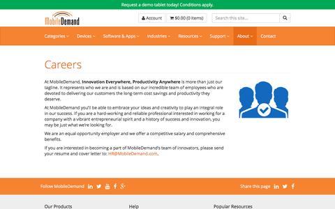 Screenshot of Jobs Page ruggedtabletpc.com - Careers - captured Nov. 29, 2016