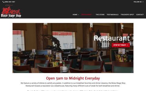 Screenshot of Menu Page boisestagestop.org - Restaurant | Boise Stage Stop - captured June 2, 2017
