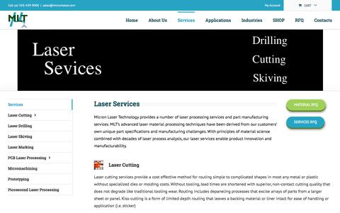 Screenshot of Services Page micronlaser.com - Laser Services - Laser Cutting / Drilling / Marking / PCB Services - captured Oct. 18, 2017