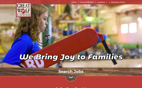 Screenshot of Jobs Page greatwolf.com - Working at Great Wolf Resorts - captured Sept. 22, 2018