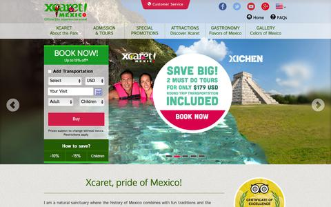Screenshot of Home Page xcaret.com - Xcaret Park Cancun Mexico - captured Jan. 12, 2016