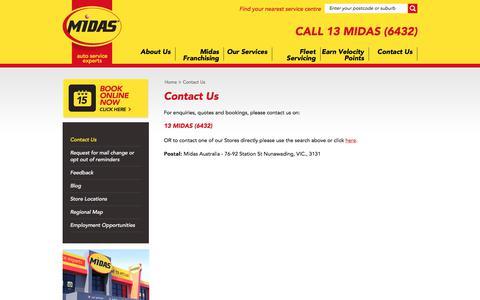 Screenshot of Contact Page midas.com.au - Midas - Car Service   Brake Service   Auto Service   Exhaust   Suspension - captured Oct. 18, 2017