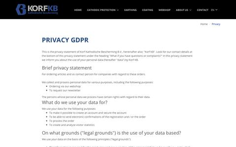 Screenshot of Privacy Page korf-kb.nl - Privacy - captured Oct. 16, 2018