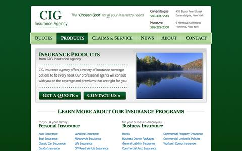 Screenshot of Products Page insurecig.com - Insurance Products | CIG Insurance Agency in Canandaigua, New York - captured July 9, 2017