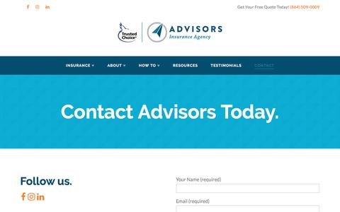 Screenshot of Contact Page advisorsinsuranceagency.com - Contact - Advisors Insurance Agency - captured July 29, 2018