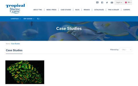 Screenshot of Case Studies Page tropicalmarinecentre.co.uk - Case Studies | TMC - captured Oct. 20, 2018