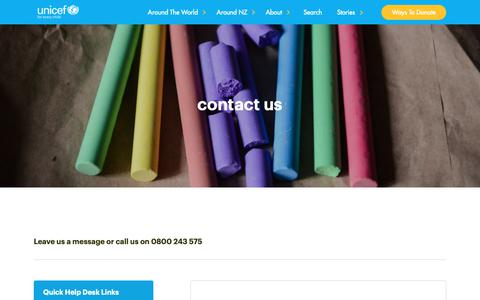 Screenshot of Contact Page unicef.org.nz - Contact us - captured Oct. 1, 2018