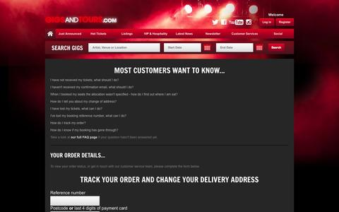 Screenshot of Support Page gigsandtours.com - Customer Service - Gigsandtours.com - captured Oct. 30, 2014