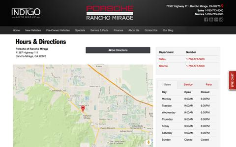 Screenshot of Hours Page porscheofranchomirage.com - Porsche of Rancho Mirage Hours of Operation | Rancho Mirage Porsche Dealer Directions - captured March 17, 2016