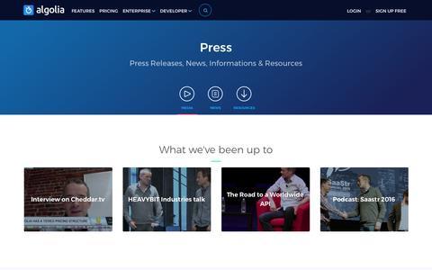 Screenshot of Press Page algolia.com - Algolia News and Press Resources   Algolia - captured March 20, 2017