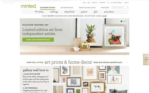 Screenshot of Home Page minted.com - Holiday Cards, Wedding Invitations, Wall Art | Minted - captured Jan. 15, 2015