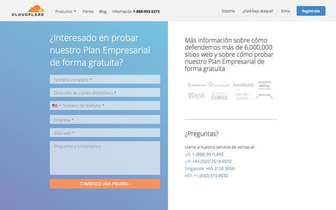 Screenshot of Trial Page cloudflare.com - Solicite un periodo de prueba gratis para nuestro Plan Empresarial | Cloudflare - captured Oct. 11, 2017