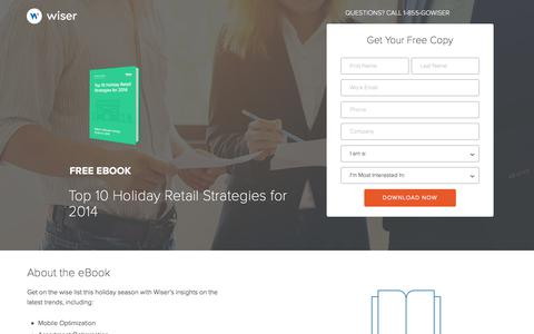 Screenshot of Landing Page wiser.com - Wiser eBook - Top 10 Holiday Retail Strategies - captured Oct. 21, 2017
