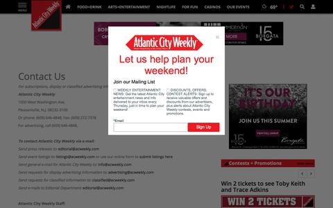 Screenshot of Contact Page atlanticcityweekly.com - Contact Us | Site | atlanticcityweekly.com - captured July 31, 2018