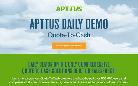 Screenshot of Landing Page apttus.com - Daily Demo - captured March 15, 2016