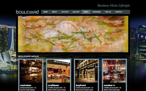 Screenshot of Menu Page boulevard.sg - The splendid menu of boulevard's dinning bars in Singapore - captured Nov. 4, 2014