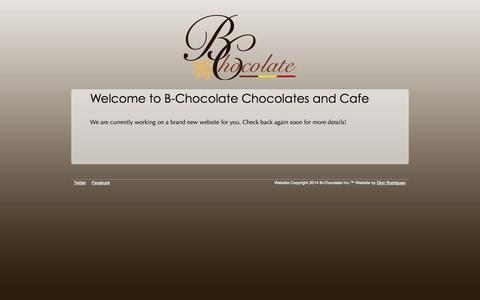 Screenshot of Home Page b-chocolate.com - B-Chocolate - We'll Be Right Back - captured Sept. 29, 2014