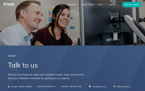 Screenshot of Contact Page kneat.com - Talk to us | Kneat - captured Oct. 15, 2018