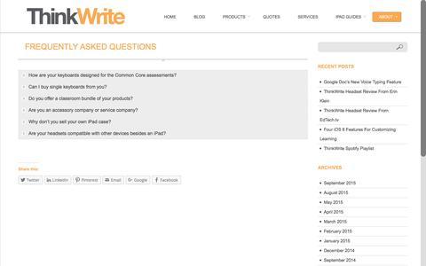 Screenshot of FAQ Page ithinkwrite.com - FAQ - ThinkWriteThinkWrite - captured Feb. 16, 2016