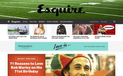 Screenshot of Home Page esquire.com - Esquire - Men's Fashion, Cocktails, Politics, Interviews, and Women - captured Feb. 6, 2016