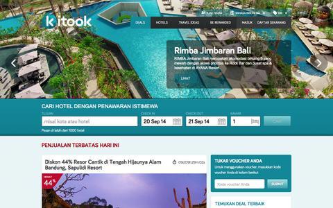 Screenshot of Home Page kitook.co.id - Deals – Kitook memberi diskon hingga 70% untuk liburan anda - captured Sept. 19, 2014