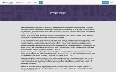 Screenshot of Privacy Page boxagon.com - Boxagon | Privacy Policy - captured Sept. 19, 2014