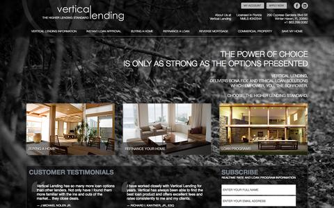 Screenshot of Home Page verticallending.net - Vertical Lending - The Higher Lending Standard - captured Oct. 7, 2014