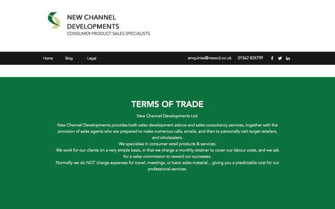 Screenshot of Terms Page newcd.co.uk - Legal | New Channel Developments - captured Feb. 2, 2018