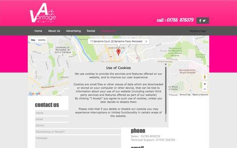 Screenshot of Contact Page ad-v.co.uk - Ad:Vantage Digital - Contact - captured Nov. 20, 2016