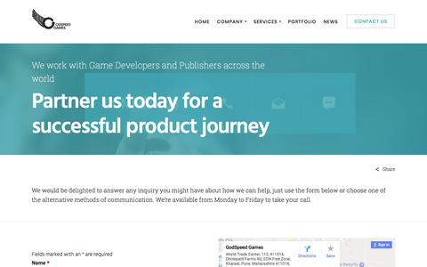 Screenshot of Contact Page godspeedgames.com - Contact Us - GodSpeed Games - captured July 20, 2018
