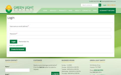 Screenshot of Login Page glsafety.com - My Account - Green Light Safety - captured Sept. 20, 2017