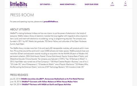 Screenshot of Press Page littlebits.cc - Blog - captured Sept. 16, 2014