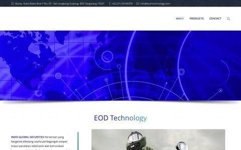 Screenshot of Home Page eod-technology.com - EOD Technology | Security Technology - captured Jan. 23, 2016