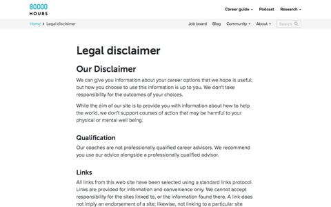 Screenshot of Terms Page 80000hours.org - Legal disclaimer - 80,000 Hours - captured Sept. 20, 2018