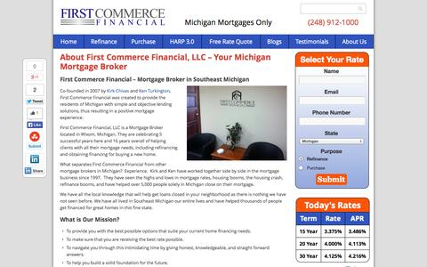 Screenshot of About Page firstcommercefinancial.com - Michigan Mortgage Brokers - About First Commerce Financial in Wixom - captured Sept. 30, 2014