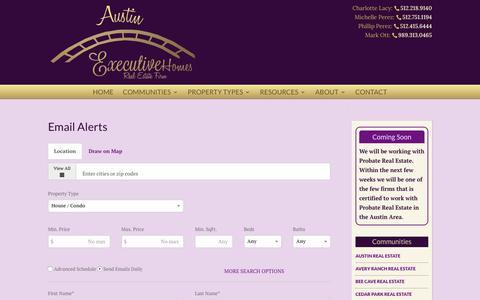 Screenshot of Signup Page austinexecutivehomes.com - Email Alerts   Austin Executive Homes - captured July 27, 2016