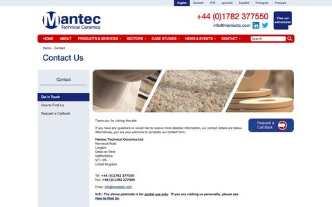 Screenshot of Contact Page mantectechnicalceramics.com - Contact Us | Mantec Technical Ceramics - captured Oct. 23, 2014