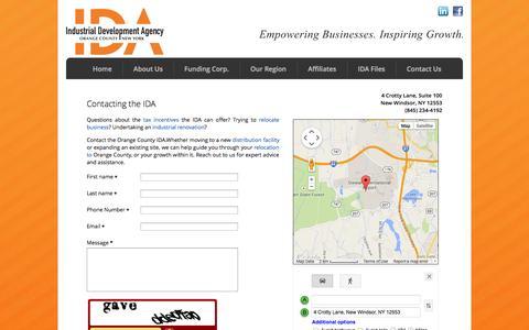 Screenshot of Contact Page ocnyida.com - Contact Us | Industrial Development Agency | Orange County New York - captured Oct. 7, 2014
