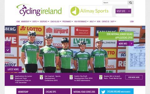 Screenshot of Home Page cyclingireland.ie - Cycling Ireland | Official website for Cycling Ireland - captured Dec. 14, 2015