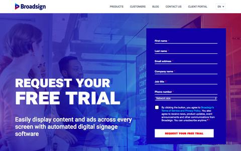 Screenshot of Trial Page broadsign.com - Request your Free Trial | Broadsign - captured Aug. 9, 2019