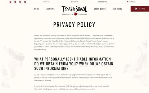 Screenshot of Privacy Page texasdebrazil.com - Privacy Policy | Texas de Brazil - captured Sept. 23, 2018