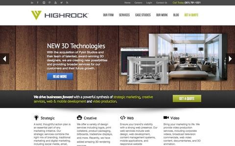 Screenshot of Home Page highrockstudios.com - High Rock - Creative Services | Web Development | Video Production | Strategic Marketing - captured Sept. 30, 2014