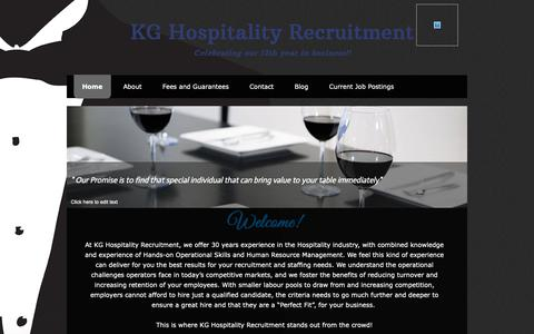 Screenshot of Home Page kghospitality.ca - KG Hospitality Recruitment - captured Oct. 14, 2018