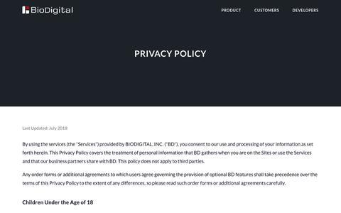 Screenshot of Privacy Page biodigital.com - BioDigital: 3D Human Visualization Platform for Anatomy and Disease - captured Sept. 24, 2018