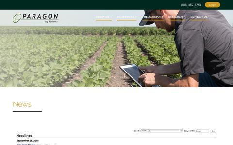 Screenshot of Press Page myagadvisor.com - News - Paragon Ag Advisory - captured Sept. 26, 2018