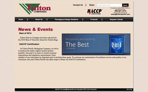 Screenshot of Press Page fultonpacific.com - Fulton Companies - News & Events - captured Jan. 8, 2016