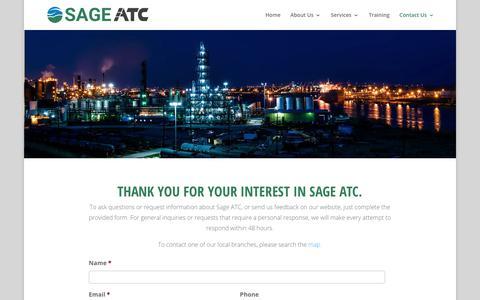 Screenshot of Contact Page sageenvironmental.com - Contact Us | SAGE ATC - captured Jan. 18, 2018