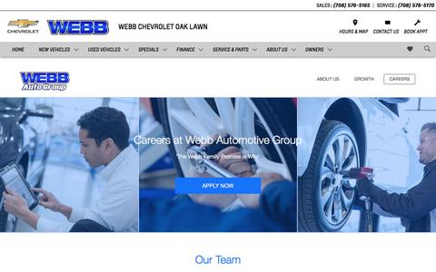 Screenshot of Jobs Page webbchevroletoaklawn.com - Webb Chevrolet Oak Lawn is a Oak Lawn Chevrolet dealer and a new car and used car Oak Lawn IL Chevrolet dealership - Careers - captured Nov. 15, 2017