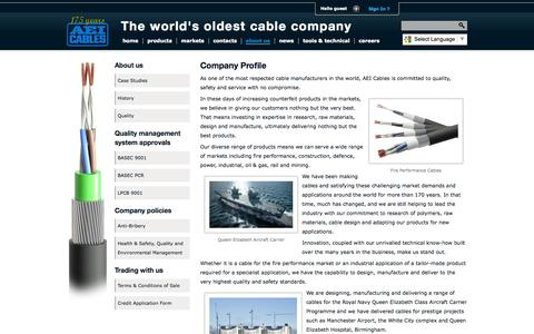 Screenshot of About Page aeicables.co.uk - AEI Cables - About Us - captured Sept. 30, 2014