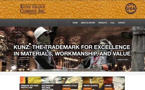 Screenshot of Home Page kunzglove.com - Kunz Gloves – Chicago | Manufacturers of Kunz Lineworkers Gloves - captured Jan. 25, 2015